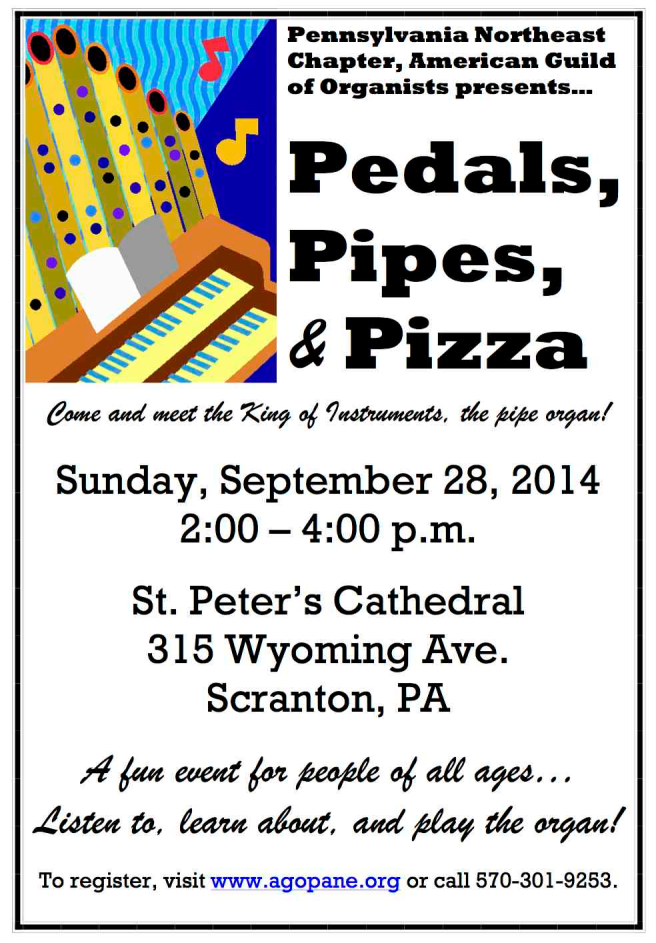 2014 Pedals Pipes and Pizza poster