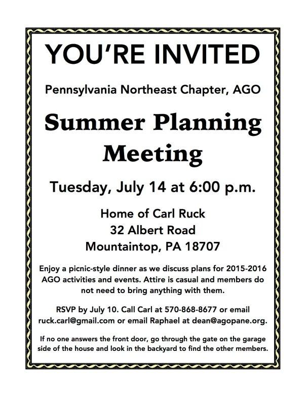 Summer Planning Meeting Flyer