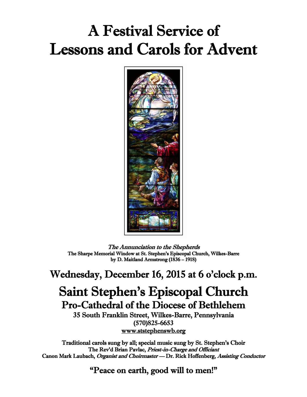 Lessons and Carols around the Pennsylvania Northeast