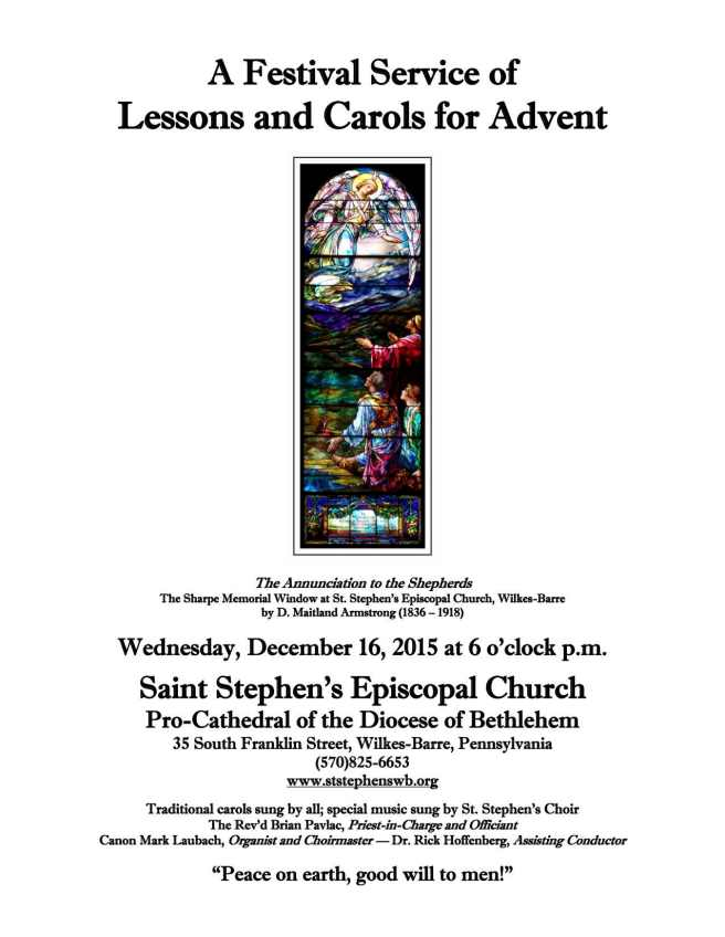 Lessons and Carols 2015 Poster on Letter Size Paper